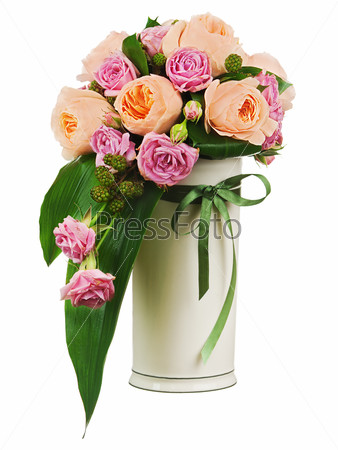 Colorful flower bouquet from roses and peon flowers in vase isol