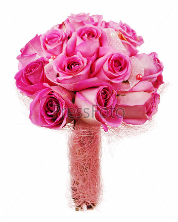 Wedding bouquet from roses for bride isolated on white backgroun