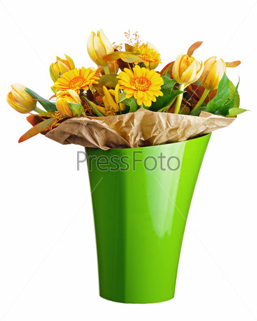 Colorful bouquet from tulips and gerbera flowers isolated on whi