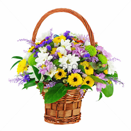 Flower bouquet in wicker basket isolated on white background