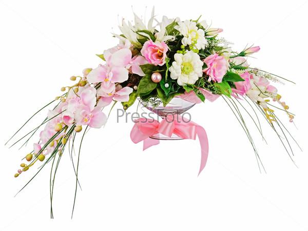 Floral bouquet of roses and orchids arrangement centerpiece isol
