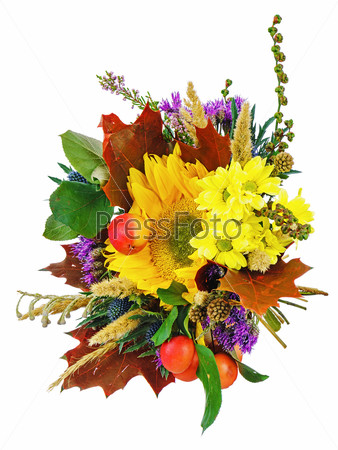 Bouquet of sunflowers and gerbera flowers isolated on white back