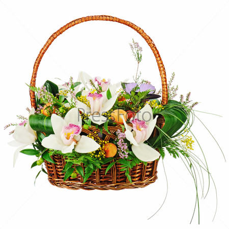 Bouquet from orchids in in wicker basket isolated on white backg