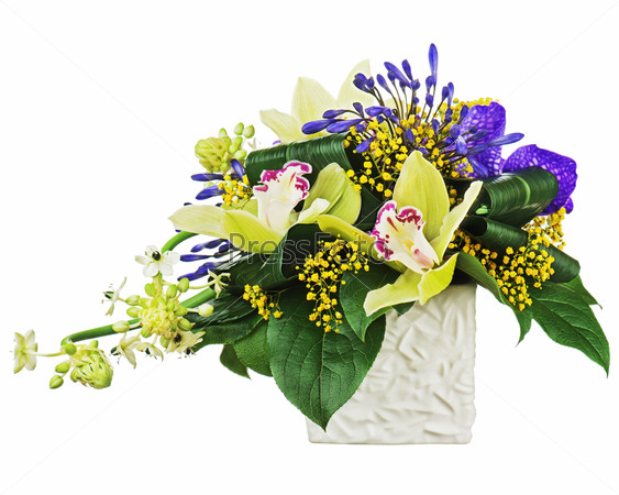 Bouquet from orchids and Arabian Star flower (Ornithogalum arabi
