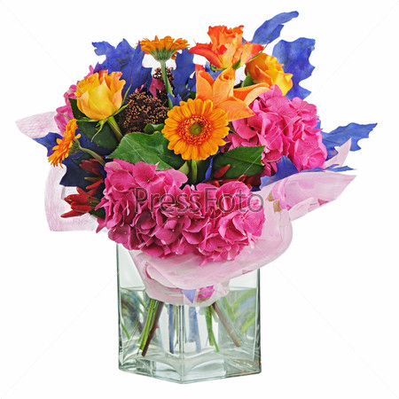 Colorful flower bouquet in vase isolated on white background.