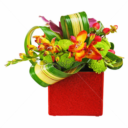 Bouquet from orchids in red vase isolated on white background.
