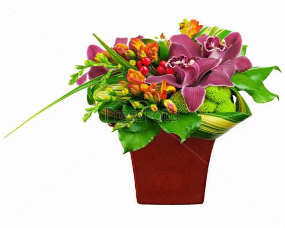 Flower bouquet arrangement centerpiece in vase isolated on white