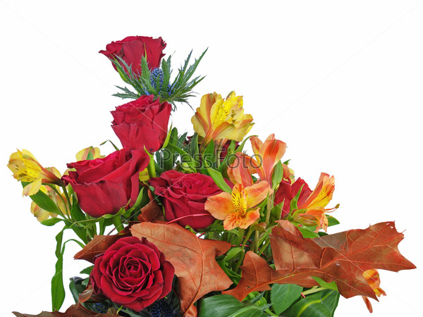 Fragment of bouquet of roses and lilies arrangement centerpiece