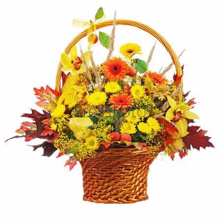 Colorful flower bouquet arrangement centerpiece in wicker basket