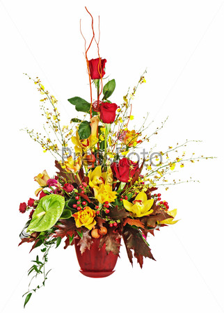Colorful flower bouquet arrangement centerpiece in vase isolated