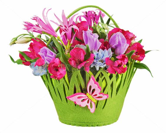 Colorful flower bouquet arrangement centerpiece in baby basket i