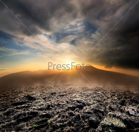 Plowed field in the mountains