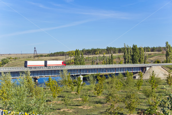 Landscape with bridge and lorry