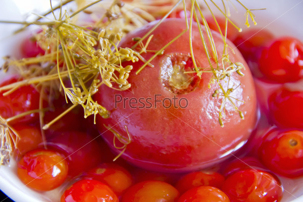 Red tomato in brine