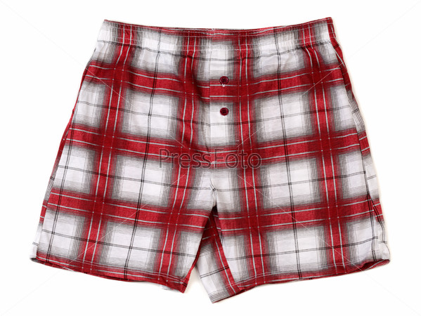 Men's boxer shorts in red and gray plaid.