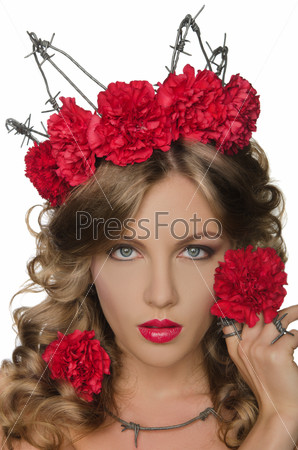 Beautiful woman with carnations