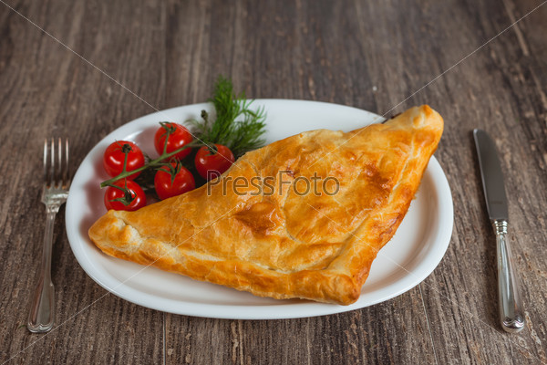 Baked puff on the plate
