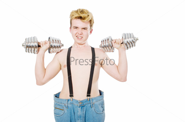Funny man with dumbbells on white
