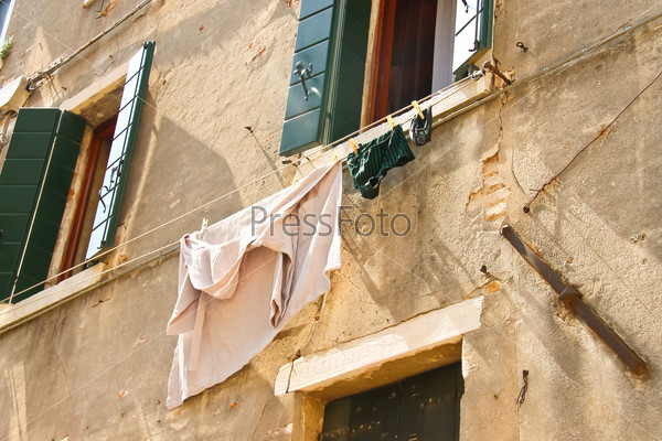 Underwear on clothesline to dry outside the Italian house