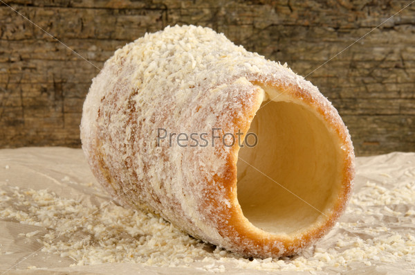 chimney cake with coconut flakes