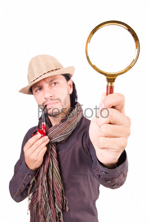 Young detective with pipe and magnifying glass