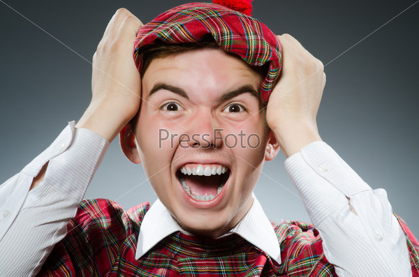Funny scotsman in the studio shooting