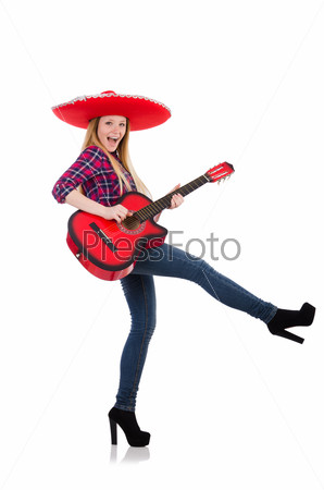 Woman in sombrero hat with guitar