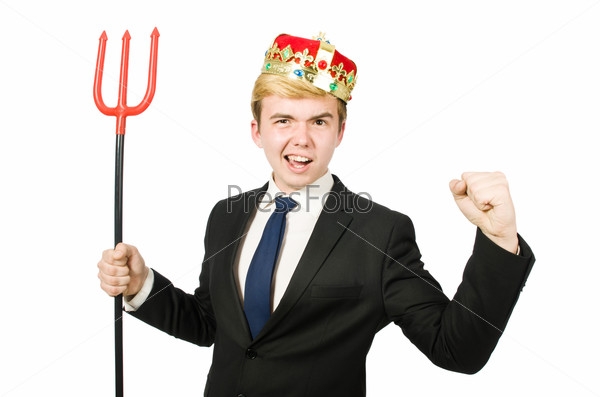 Funny businessman with trident pitchfork isolated on white