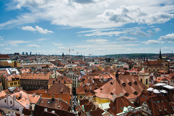Rooftops in Prague on bright summer day