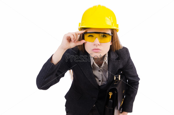 Woman construction worker isolated on white