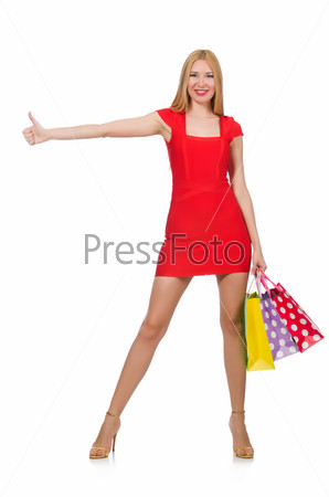 Woman after shopping isolated on the white