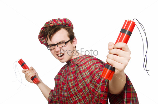 Scotsman with bomb isolated on white
