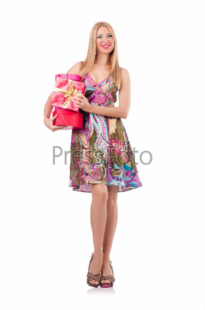 Woman with presents isolated on the white