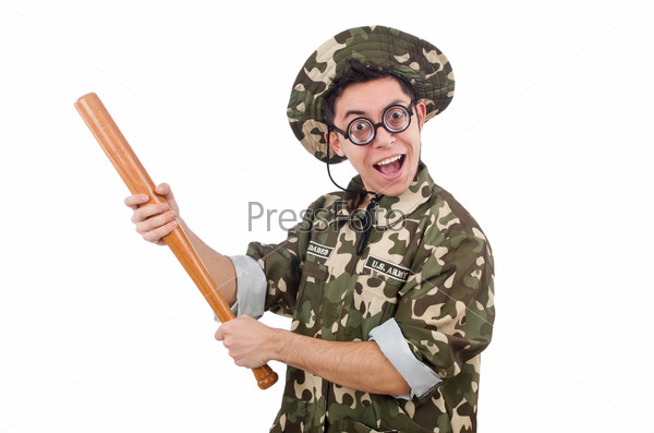 Soldier with baseball bat isolated on white