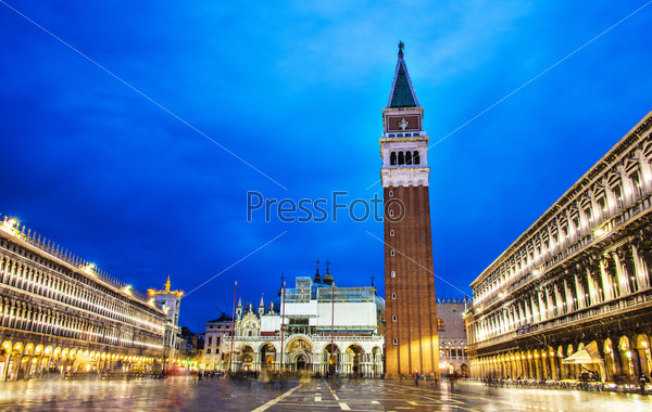 Evening view of saint mark square in Venice, Italy
