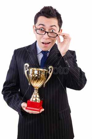 Man awarded with cup isolated on white