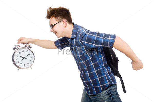 Student missing his studying deadlines on white