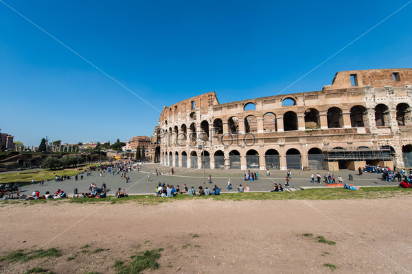 Ancient Rome ruines on bright summer day