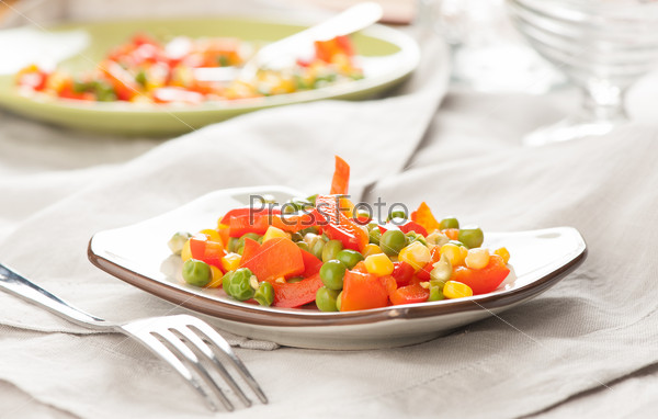 Steamed Organic Vegetables. Peas, Corn and Pepper