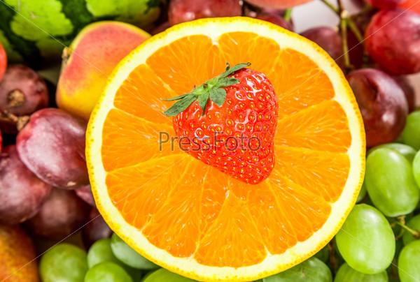 Fresh Orange and strawberries