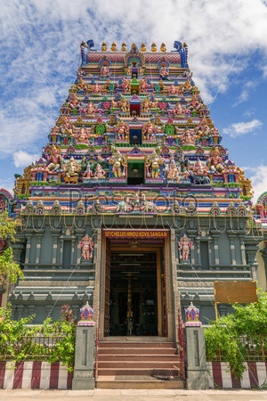 Colorful facade of a Hindu temple in Victoria, Mahe, Seychelles,