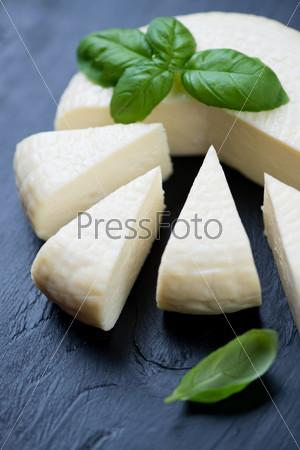 Адыгейский сыр и свежий зеленый базилик