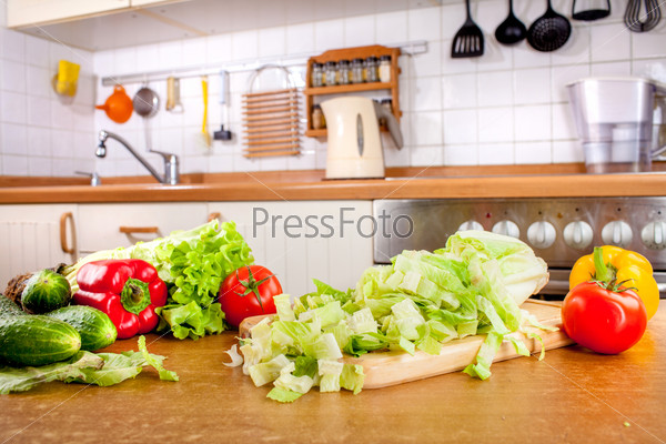 Vegetables on the kitchen