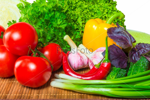 ripe wholesome vegetables and lush greenery