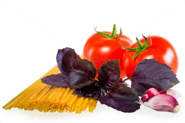 spaghetti and vegetables for Italian cuisine