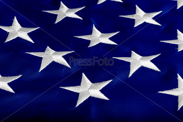 beautifully embroidered stars on the flag states