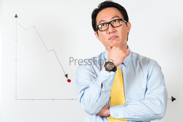 Asian Chinese Business Manager presenting bad forecast