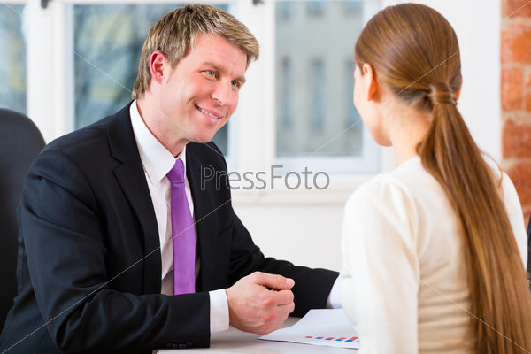 Lawyer and client in office