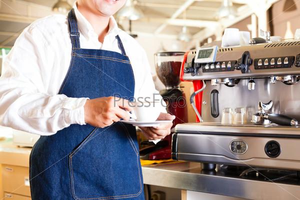 Asian Coffeeshop - barista presents coffee