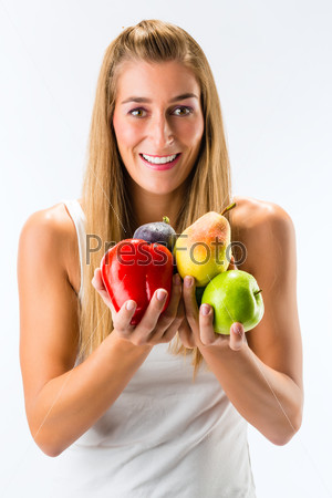 Healthy eating - woman with fruits and vegetables